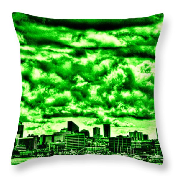 Storm Over The Emerald City Throw Pillow by David Patterson
