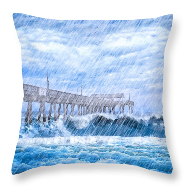 Storm Over The Sea - Tybee Pier Throw Pillow by Mark Tisdale