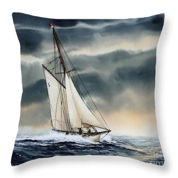 Storm Sailing Throw Pillow by James Williamson