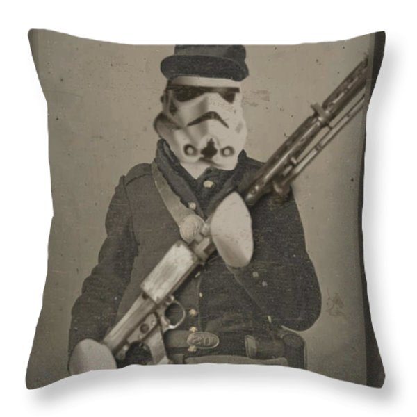 Storm Trooper Star Wars Antique Photo Throw Pillow by Tony Rubino