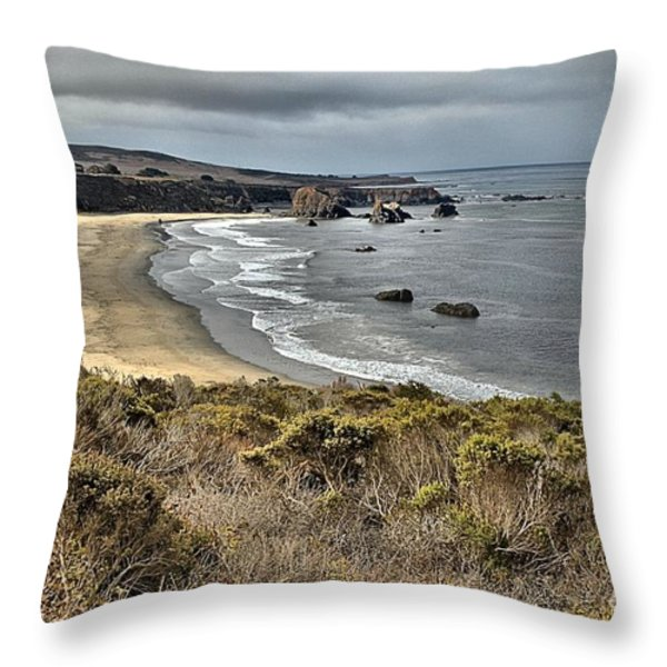 Storms Over An Unspoiled Beach Throw Pillow by Adam Jewell
