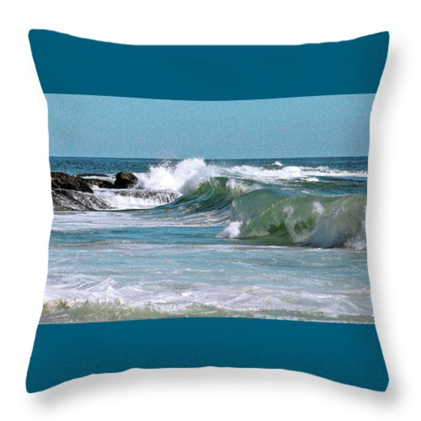 Stormy Lagune - Blue Seascape Throw Pillow by Ben and Raisa Gertsberg