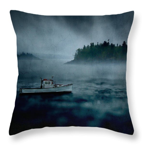 Stormy Night off the Coast of Maine Throw Pillow by Edward Fielding