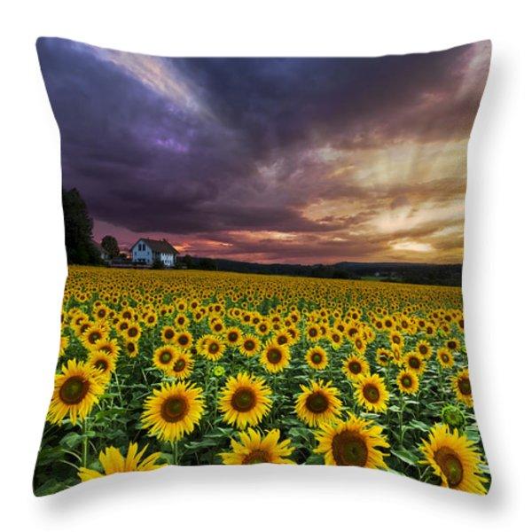 Stormy Sunrise Throw Pillow by Debra and Dave Vanderlaan