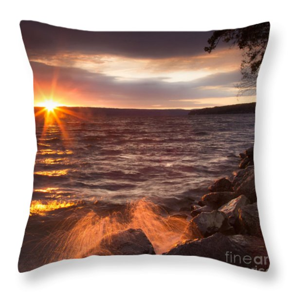 Stormy Sunrise Throw Pillow by Michele Steffey