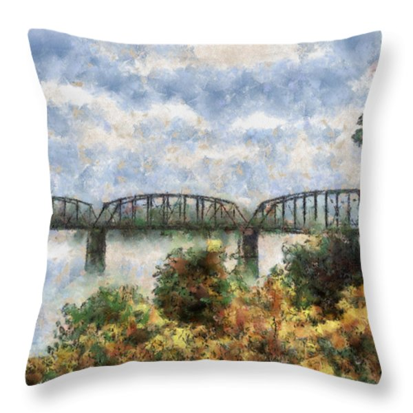 Strang Bridge Throw Pillow by Jeff Kolker