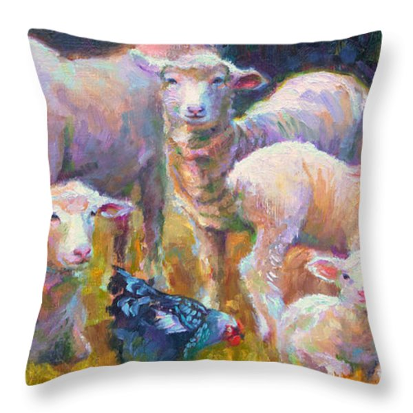 Stranger at the Well - spring lambs sheep and hen Throw Pillow by Talya Johnson