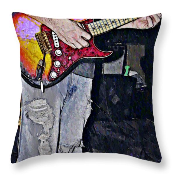 Strat Man  Throw Pillow by Chris Berry