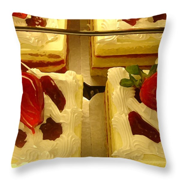 Strawberry Cakes Throw Pillow by Amy Vangsgard