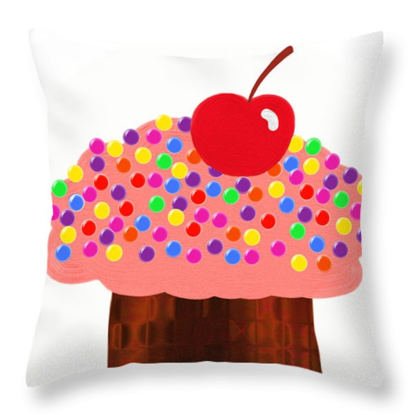 Strawberry Cupcake Throw Pillow by Andee Design