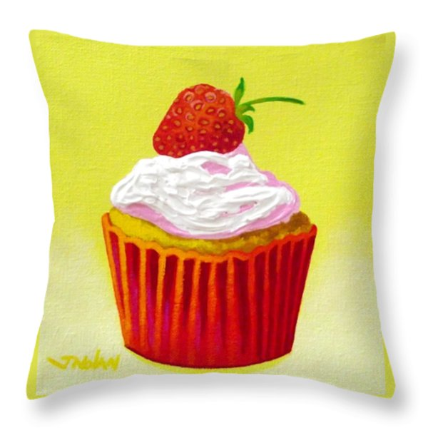 Strawberry Cupcake Throw Pillow by John  Nolan