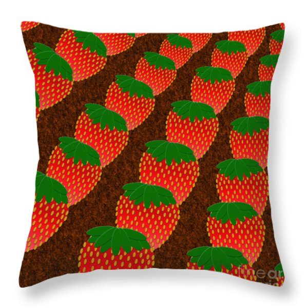 STRAWBERRY FIELDS FOREVER Throw Pillow by Andee Design