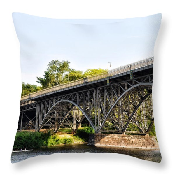 Strawberry Mansion Bridge And The Schuylkill River Throw Pillow by Bill Cannon