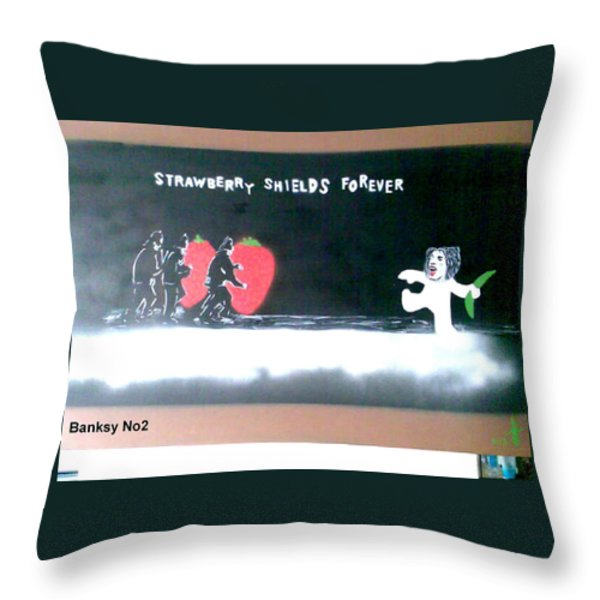 Strawberry Shields Forever Throw Pillow by MERLIN Vernon