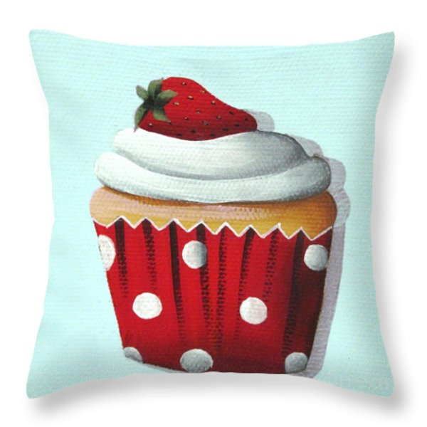 Strawberry Shortcake Cupcake Throw Pillow by Catherine Holman