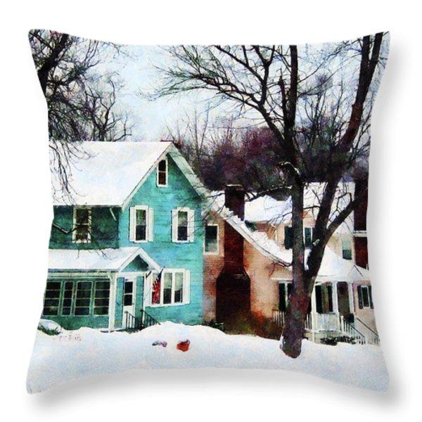 Street After Snow Throw Pillow by Susan Savad