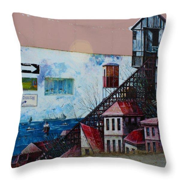 Street Art Valparaiso Chile 17 Throw Pillow by Kurt Van Wagner
