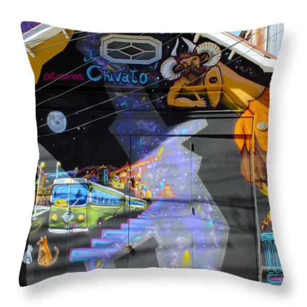 Street Art Valparaiso Chile 5 Throw Pillow by Kurt Van Wagner