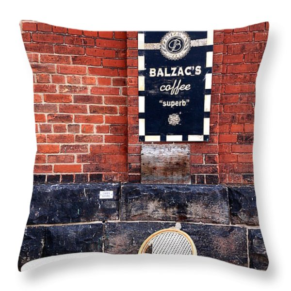 Street Cafe Throw Pillow by Valentino Visentini