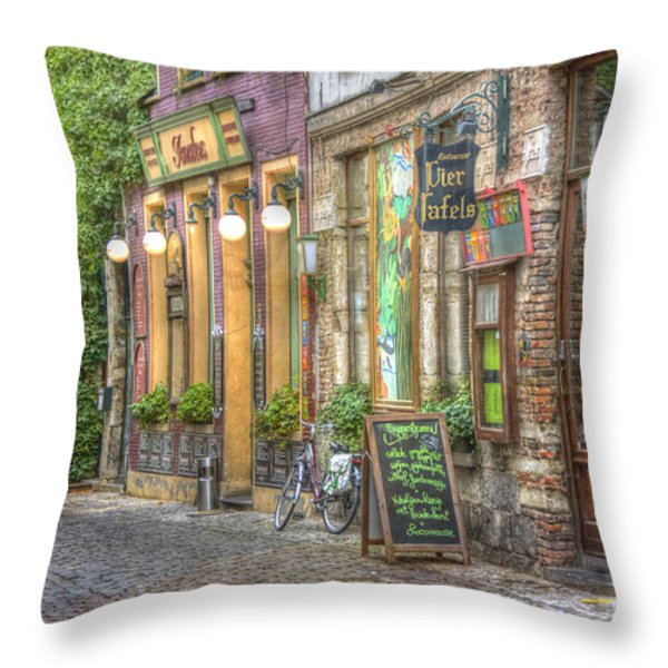 Street In Ghent Throw Pillow by Juli Scalzi