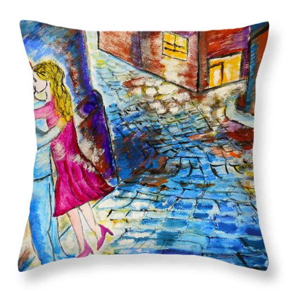 Street Kiss by Night  Throw Pillow by Ramona Matei