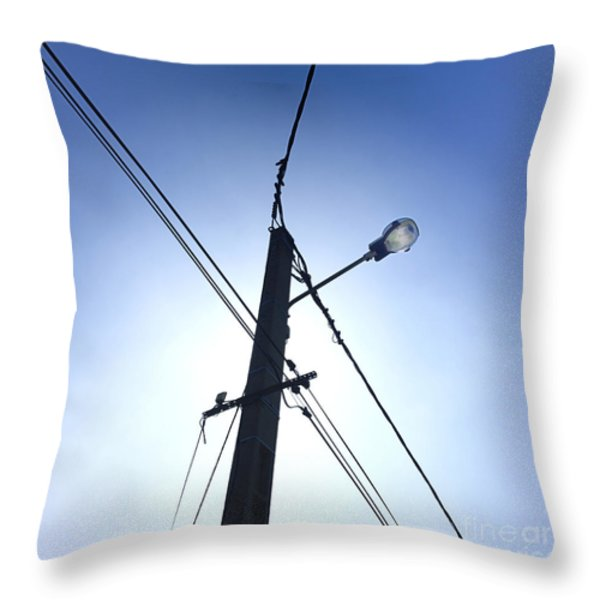 Street lamp and power lines Throw Pillow by BERNARD JAUBERT