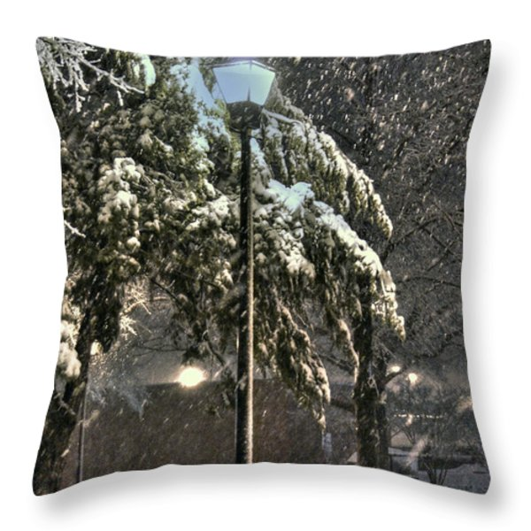 Street Lamp in the Snow Throw Pillow by Benanne Stiens