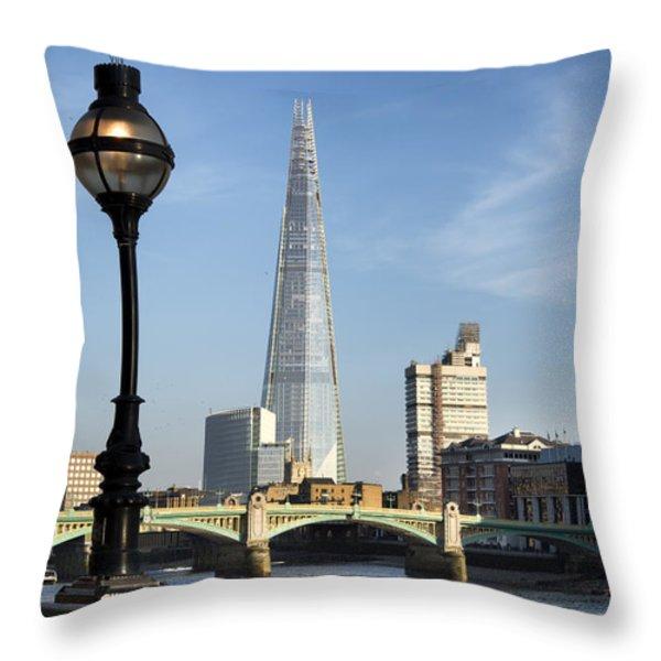 Street Light and Shard Throw Pillow by Matthew Gibson