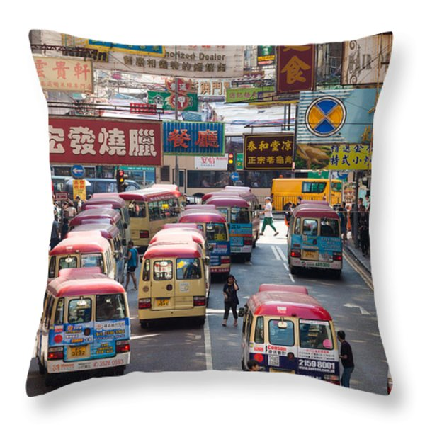 Street scene in Hong Kong Throw Pillow by Matteo Colombo