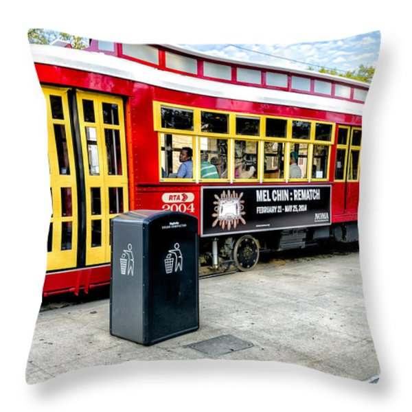 Streetcar On Canal Street Nola Throw Pillow by Kathleen K Parker