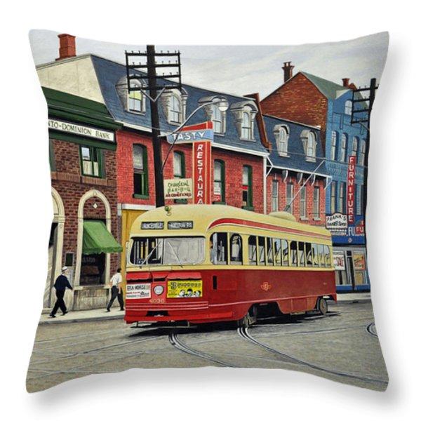 Streetcar On Queen Street 1963 Throw Pillow by Kenneth M  Kirsch