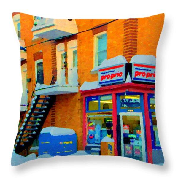 Streets Of Verdun Corner Depanneur Proprio Staircases In Winter Montreal City Scene Carole Spandau Throw Pillow by Carole Spandau
