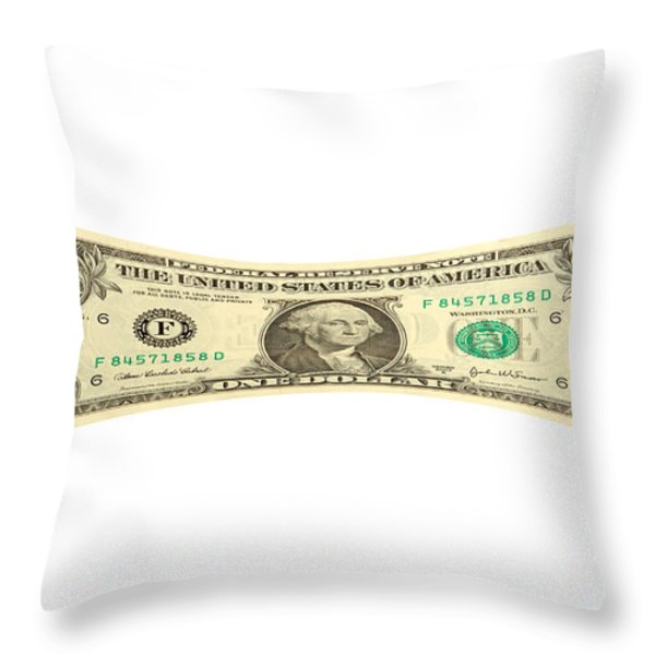 Stretching the Dollar Throw Pillow by Olivier Le Queinec