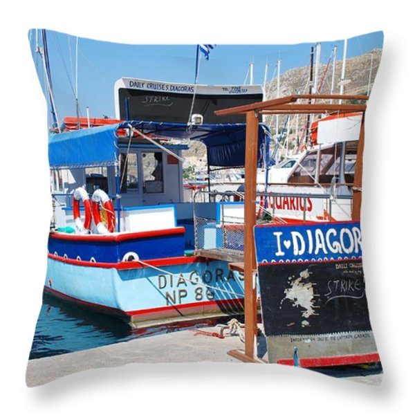 Striking Excursion Boat Symi Throw Pillow by David Fowler
