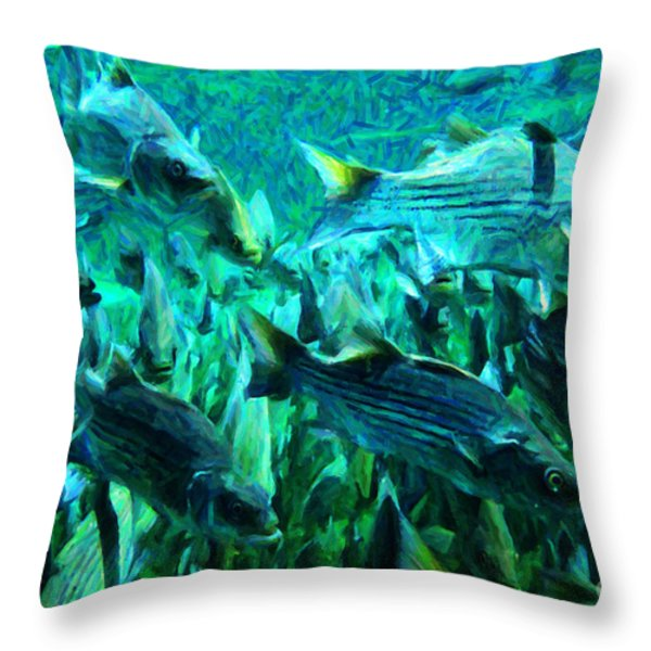Striped Bass - Painterly V1 Throw Pillow by Wingsdomain Art and Photography