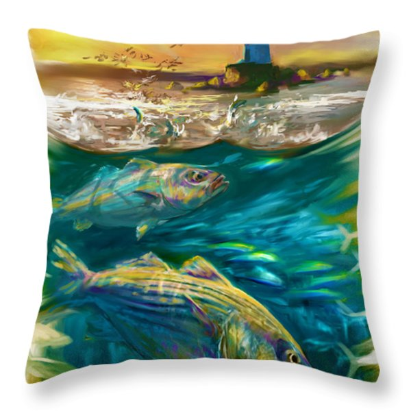Striper And Lighthouse - Striped Bass Art Throw Pillow by Savlen Art