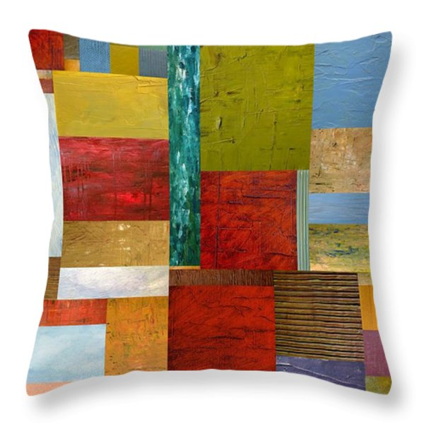 Strips And Pieces Lll Throw Pillow by Michelle Calkins