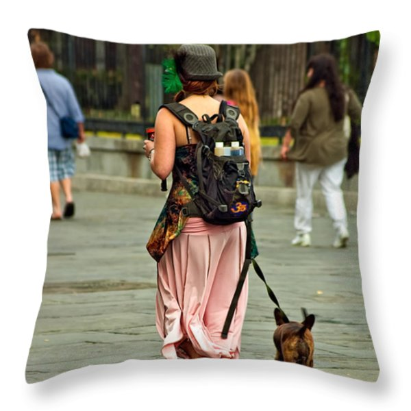 Strolling in Jackson Square Throw Pillow by Steve Harrington