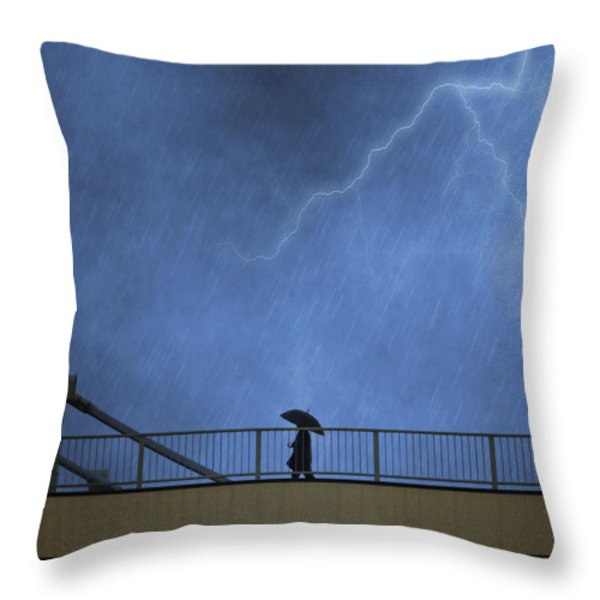 Strolling in the Rain Throw Pillow by Juli Scalzi