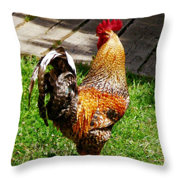 Strutting Rooster Throw Pillow by Susan Savad