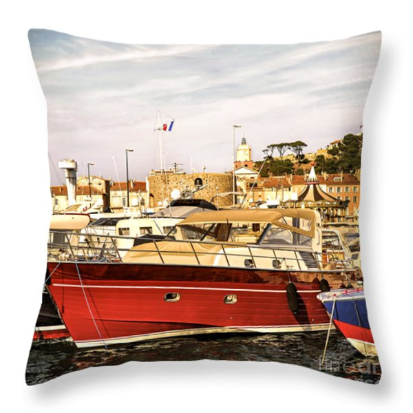 St.Tropez harbor Throw Pillow by Elena Elisseeva
