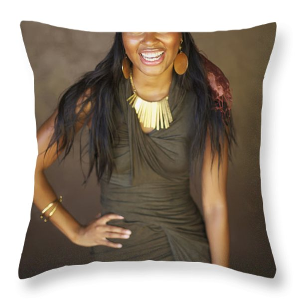 Studio Portrait of African American Model Throw Pillow by Kicka Witte