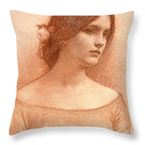 Study For The Lady Clare Throw Pillow by John William Waterhouse