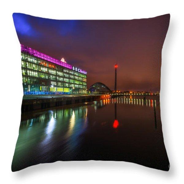 Stunning Bbc Scotland In Glasgow Throw Pillow by John Farnan