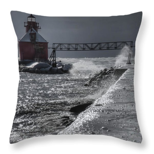 Sturgeon Bay After The Storm Throw Pillow by Joan Carroll