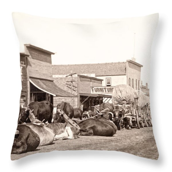 STURGIS SOUTH DAKOTA c. 1890 Throw Pillow by Daniel Hagerman