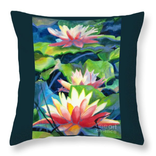Styalized Lily Pads 3 Throw Pillow by Kathy Braud