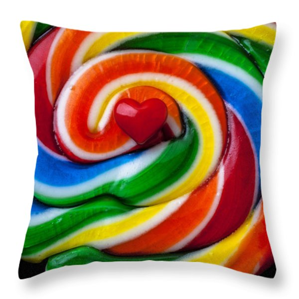 Sucker Heart Throw Pillow by Garry Gay