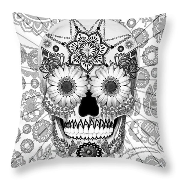Sugar Skull Bleached Bones - Copyrighted Throw Pillow by Christopher Beikmann
