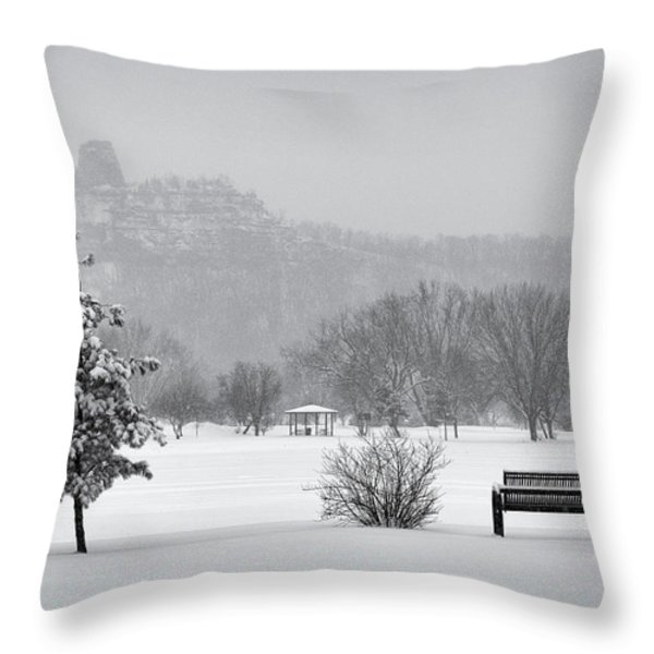Sugarloaf Snowstorm Throw Pillow by Al  Mueller